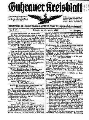 Guhrauer Anzeiger an der Schlesisch-Posener Grenze vom 10.01.1917