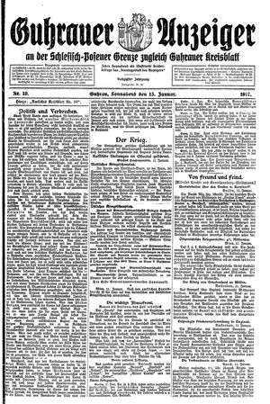 Guhrauer Anzeiger an der Schlesisch-Posener Grenze vom 13.01.1917