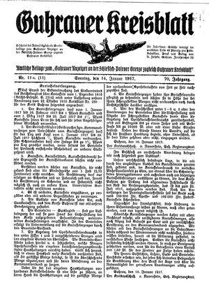 Guhrauer Anzeiger an der Schlesisch-Posener Grenze vom 14.01.1917