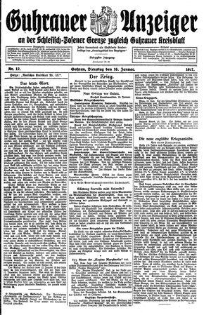 Guhrauer Anzeiger an der Schlesisch-Posener Grenze vom 16.01.1917