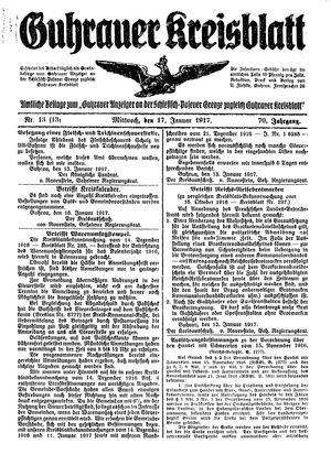 Guhrauer Anzeiger an der Schlesisch-Posener Grenze vom 17.01.1917