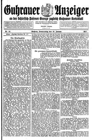 Guhrauer Anzeiger an der Schlesisch-Posener Grenze vom 18.01.1917