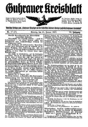 Guhrauer Anzeiger an der Schlesisch-Posener Grenze vom 21.01.1917