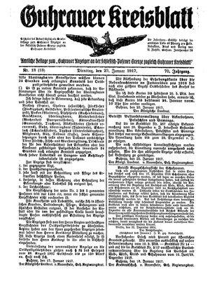 Guhrauer Anzeiger an der Schlesisch-Posener Grenze vom 23.01.1917