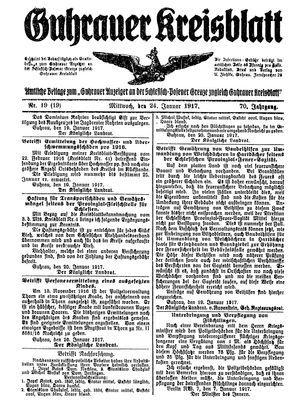 Guhrauer Anzeiger an der Schlesisch-Posener Grenze vom 24.01.1917