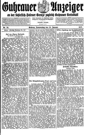 Guhrauer Anzeiger an der Schlesisch-Posener Grenze on Jan 25, 1917