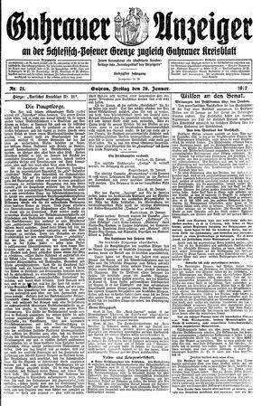 Guhrauer Anzeiger an der Schlesisch-Posener Grenze vom 26.01.1917