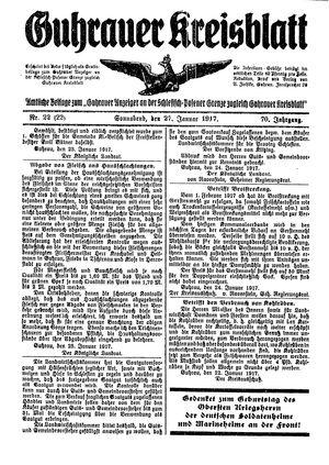 Guhrauer Anzeiger an der Schlesisch-Posener Grenze vom 27.01.1917