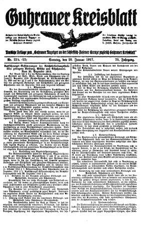 Guhrauer Anzeiger an der Schlesisch-Posener Grenze vom 28.01.1917