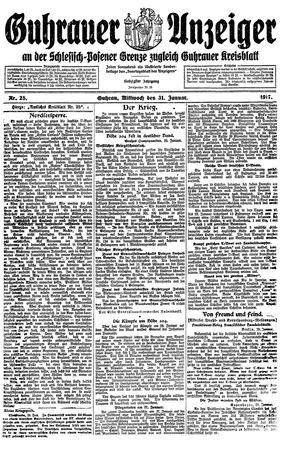 Guhrauer Anzeiger an der Schlesisch-Posener Grenze vom 31.01.1917