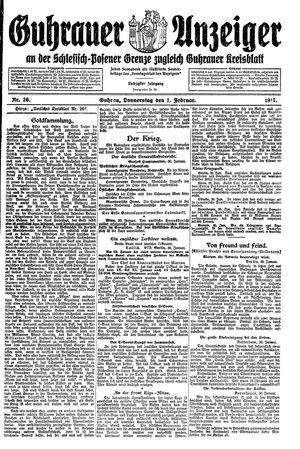 Guhrauer Anzeiger an der Schlesisch-Posener Grenze vom 01.02.1917