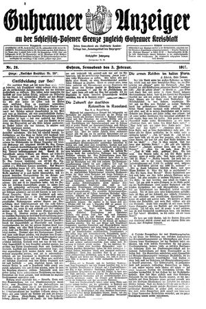 Guhrauer Anzeiger an der Schlesisch-Posener Grenze vom 03.02.1917