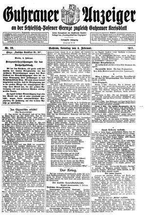 Guhrauer Anzeiger an der Schlesisch-Posener Grenze vom 04.02.1917