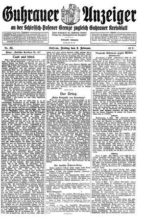 Guhrauer Anzeiger an der Schlesisch-Posener Grenze vom 09.02.1917