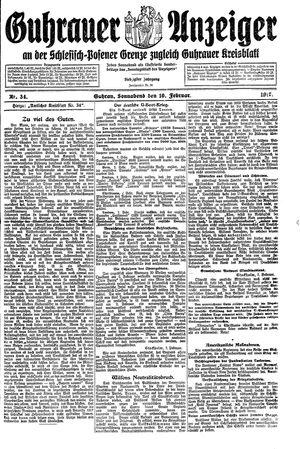 Guhrauer Anzeiger an der Schlesisch-Posener Grenze vom 10.02.1917