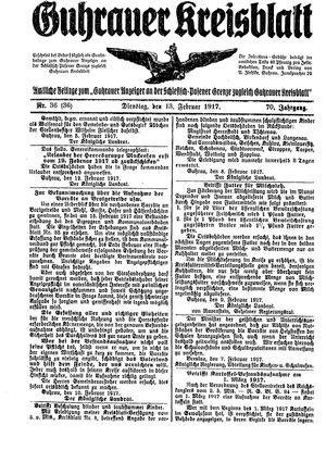 Guhrauer Anzeiger an der Schlesisch-Posener Grenze vom 13.02.1917
