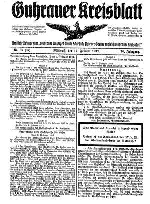 Guhrauer Anzeiger an der Schlesisch-Posener Grenze vom 14.02.1917
