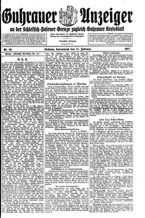 Guhrauer Anzeiger an der Schlesisch-Posener Grenze vom 17.02.1917
