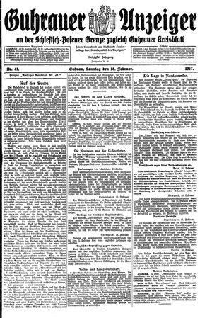 Guhrauer Anzeiger an der Schlesisch-Posener Grenze vom 18.02.1917