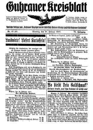 Guhrauer Anzeiger an der Schlesisch-Posener Grenze vom 20.02.1917