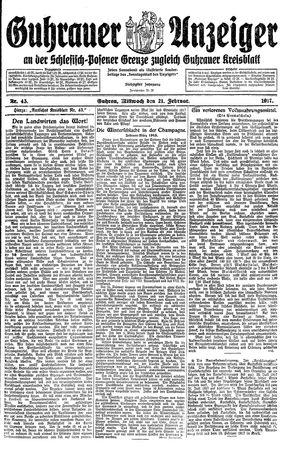 Guhrauer Anzeiger an der Schlesisch-Posener Grenze vom 21.02.1917