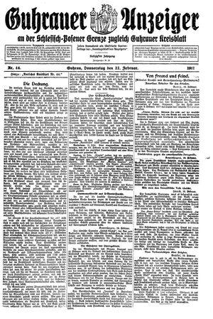 Guhrauer Anzeiger an der Schlesisch-Posener Grenze vom 22.02.1917