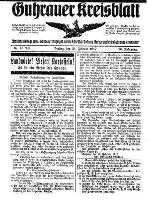 Guhrauer Anzeiger an der Schlesisch-Posener Grenze vom 23.02.1917