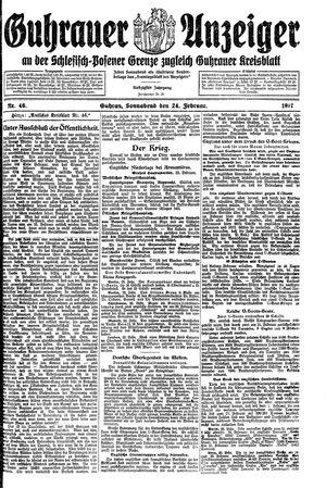 Guhrauer Anzeiger an der Schlesisch-Posener Grenze vom 24.02.1917