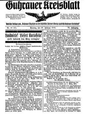 Guhrauer Anzeiger an der Schlesisch-Posener Grenze vom 25.02.1917