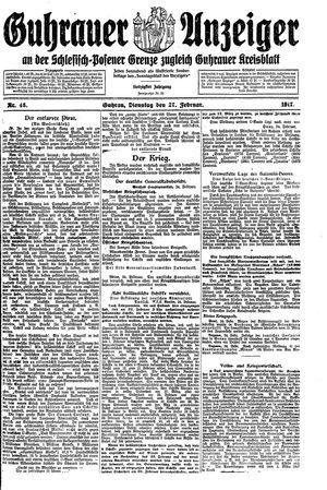 Guhrauer Anzeiger an der Schlesisch-Posener Grenze vom 27.02.1917