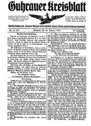 Guhrauer Anzeiger an der Schlesisch-Posener Grenze vom 28.02.1917