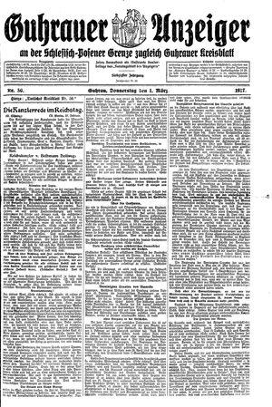 Guhrauer Anzeiger an der Schlesisch-Posener Grenze vom 01.03.1917
