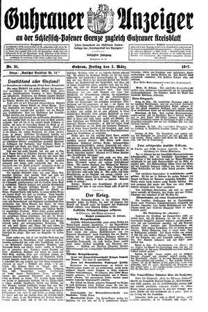 Guhrauer Anzeiger an der Schlesisch-Posener Grenze vom 02.03.1917