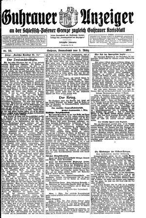 Guhrauer Anzeiger an der Schlesisch-Posener Grenze vom 03.03.1917