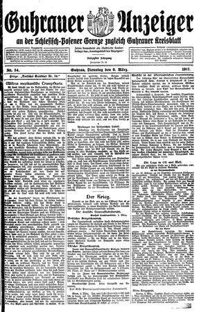 Guhrauer Anzeiger an der Schlesisch-Posener Grenze vom 06.03.1917