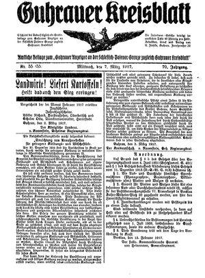 Guhrauer Anzeiger an der Schlesisch-Posener Grenze on Mar 7, 1917