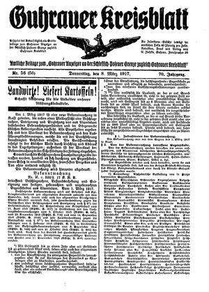 Guhrauer Anzeiger an der Schlesisch-Posener Grenze vom 08.03.1917