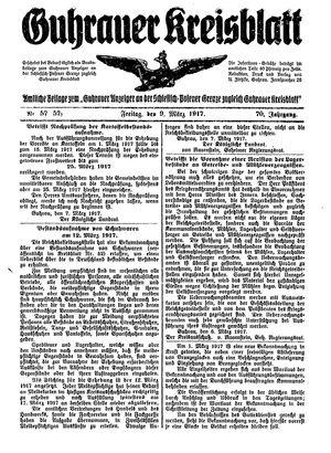 Guhrauer Anzeiger an der Schlesisch-Posener Grenze on Mar 9, 1917