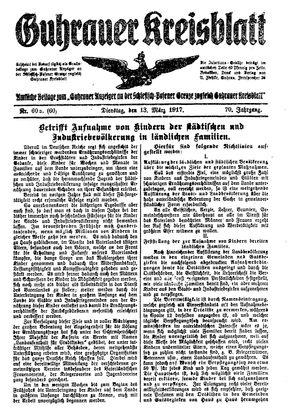 Guhrauer Anzeiger an der Schlesisch-Posener Grenze vom 13.03.1917