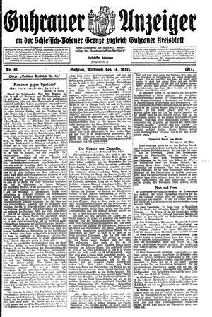 Guhrauer Anzeiger an der Schlesisch-Posener Grenze vom 14.03.1917