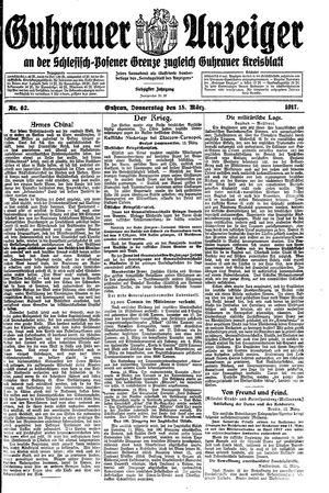 Guhrauer Anzeiger an der Schlesisch-Posener Grenze vom 15.03.1917