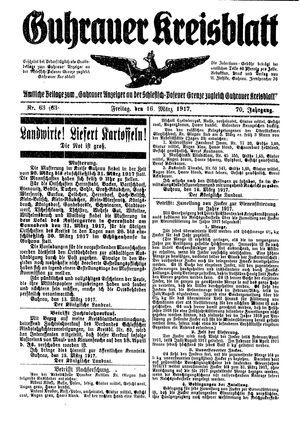 Guhrauer Anzeiger an der Schlesisch-Posener Grenze vom 16.03.1917