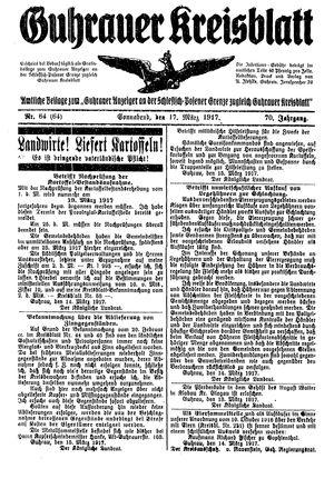 Guhrauer Anzeiger an der Schlesisch-Posener Grenze vom 17.03.1917