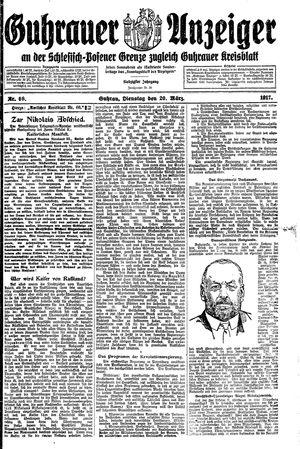 Guhrauer Anzeiger an der Schlesisch-Posener Grenze vom 20.03.1917