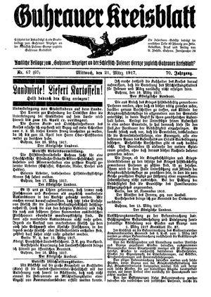 Guhrauer Anzeiger an der Schlesisch-Posener Grenze vom 21.03.1917