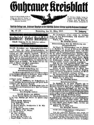 Guhrauer Anzeiger an der Schlesisch-Posener Grenze vom 22.03.1917