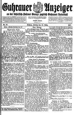 Guhrauer Anzeiger an der Schlesisch-Posener Grenze vom 23.03.1917