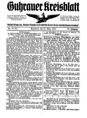 Guhrauer Anzeiger an der Schlesisch-Posener Grenze vom 24.03.1917