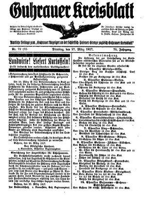 Guhrauer Anzeiger an der Schlesisch-Posener Grenze vom 27.03.1917