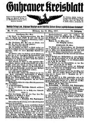 Guhrauer Anzeiger an der Schlesisch-Posener Grenze vom 28.03.1917